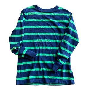 {preloved} Boy's Polo Blue/Green Striped L/S Shirt